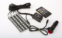 Car styling Wireless Remote/Music/Voice Control Interior Floor Foot Decoration Light Cigarette LED Atmosphere RGB