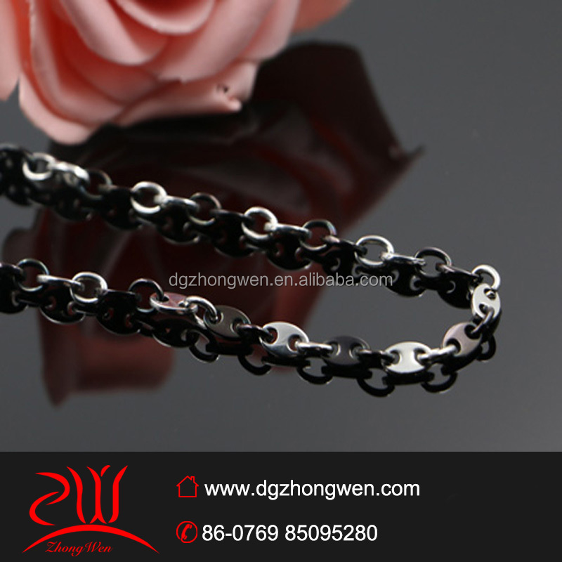 latest design stainless steel chains necklace two tone PVD plating jewelry