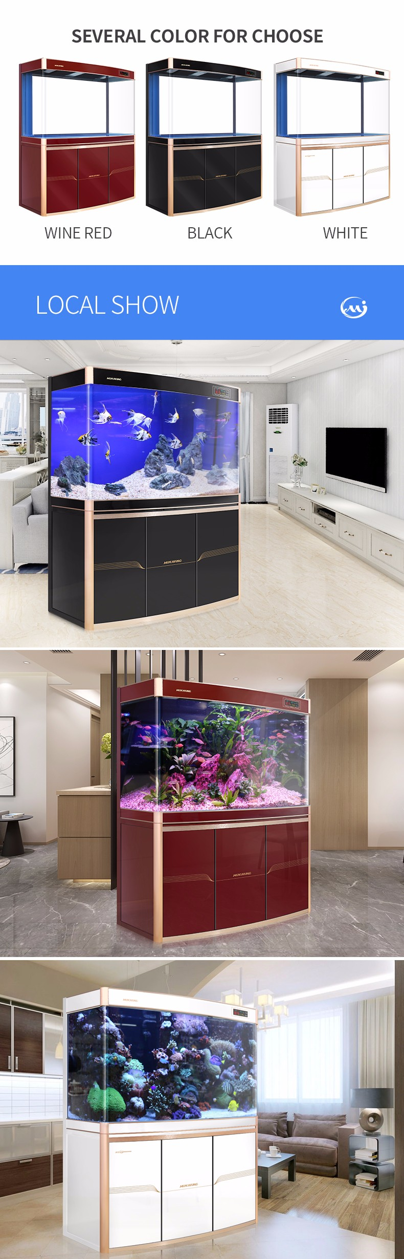 Minjiang Home Decor aquarium LED verlichting fish bewapenen tank