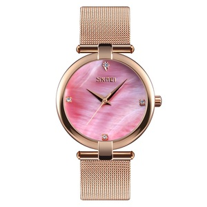 Custom watches low moq Skmei 9177 beautiful ladies watch stainless steel gold watch bands durable