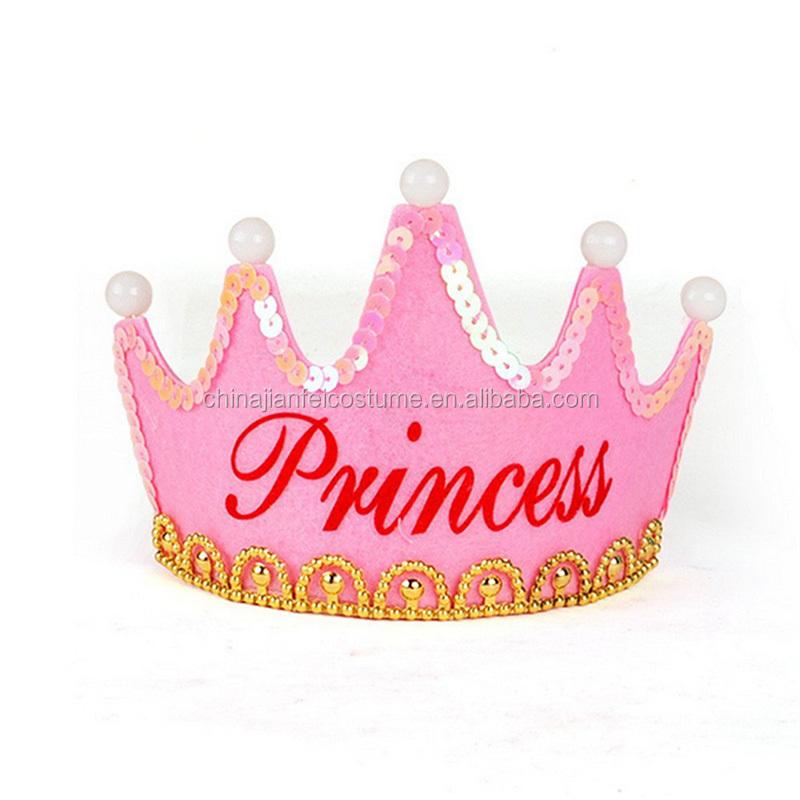 Happy Birthday Cap Colorful Non Woven Hat King Princess Luminous Led