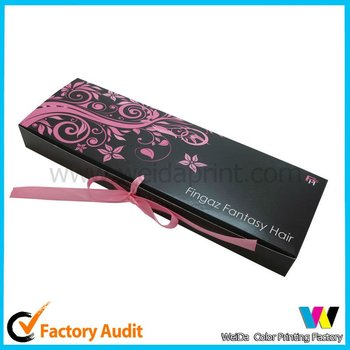 Box packaging for hair extensions