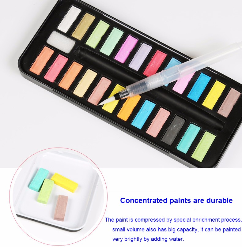 Amazon Hot sell 12/18/24 Colors Watercolor Paint Cake with Tin Box and Water Brush
