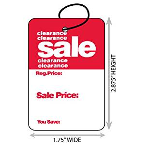 "Large (1.75"" X 2.875"") Promotional Clearance Sale Merchandise Tag With String. Case of 2,000 Tags."
