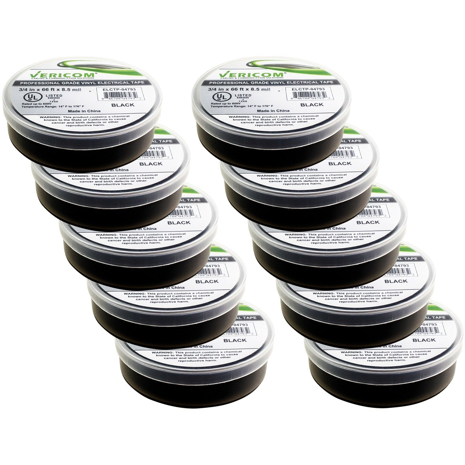 """Black Professional Grade Electrical Tape (3/4"""" x 66 ft, Thickness 8.5 mil) - Heavy Duty - Rated to 176 Degrees & 600 Volts - All-Weather Pressure Sensitive Vinyl (PVC) Tape - 10 PACK"""