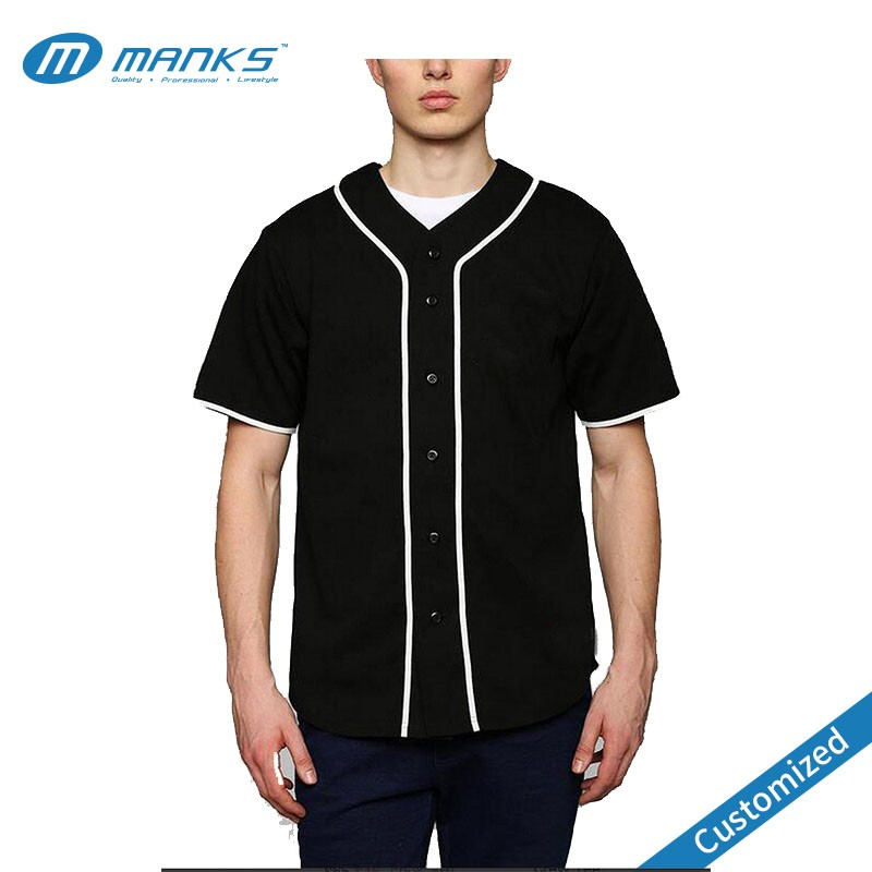 Blank Black Plain Men Baseball Jersey