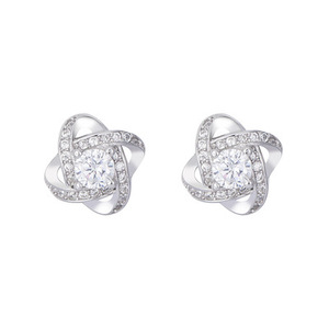 S925 pure silver lucky four-leaf clover ear studs Korean version between about set diamond four-leaf clover zircon ear studs
