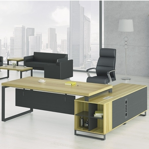 Office Furniture L-Shape CEO GM Manager Desk Work Table Solid Wooden Office Table with Side Table