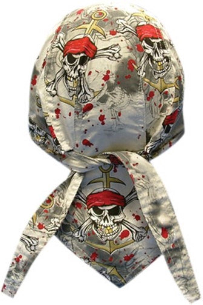 Get Quotations · Danbanna Deluxe Grey Black Red Pirates Warning Skull  Anchor Bandana Headwrap Headscarf Adjustable Cap Hat with 6bd990b8cfd5