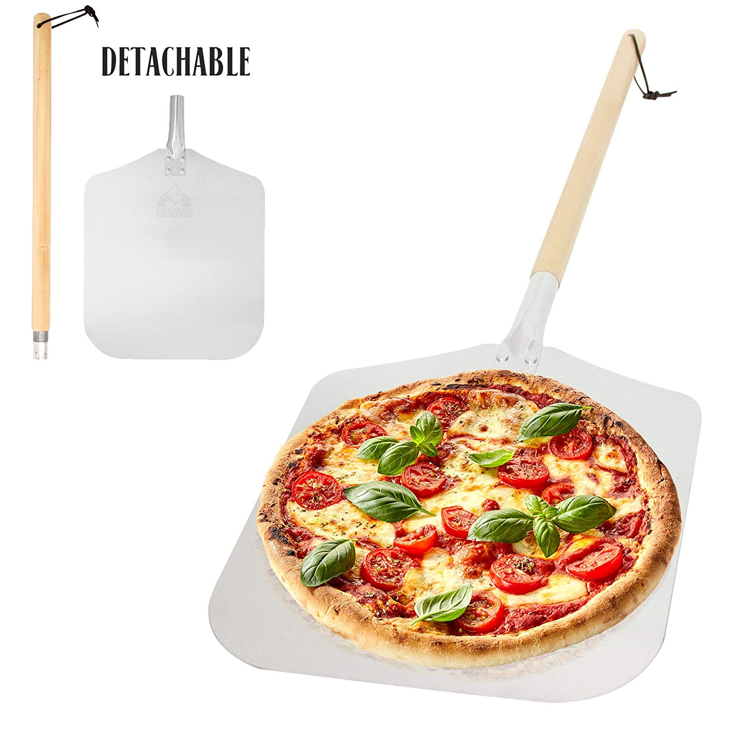 """Aluminum Pizza Peel Paddle with Detachable Wooden Handle, 12"""" x 14"""" inch Blade, Long 21.5"""" Handle with Leather Strap, 35.5 inch overall - Outdoor Pizza Oven Accessories"""