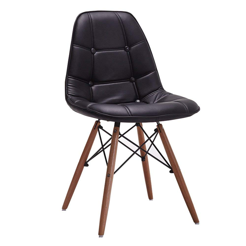 LQQFF Nordic Home backrest Chair, Leather Chair, Fashion Casual Solid Wood Dining Chair. - Dining Chair (Color : A)