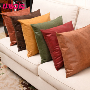 plain style applique work leather cushion cover