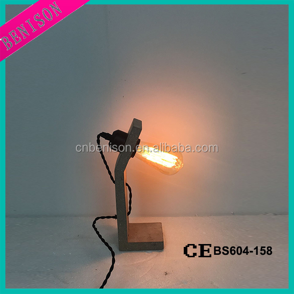 antique country cement table light led standing mini desk cheap concrete light vintage indoor floor decorative lighting