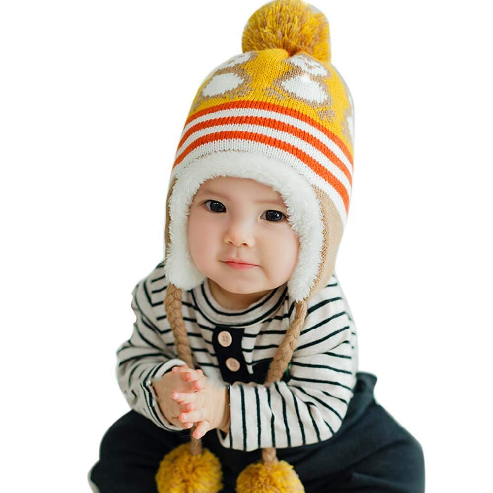 c5b866ef5849f Get Quotations · Toddler Kid Girl Boys Baby Earflap Winter Knit Cap Soft  Crochet Hats 6-36 month