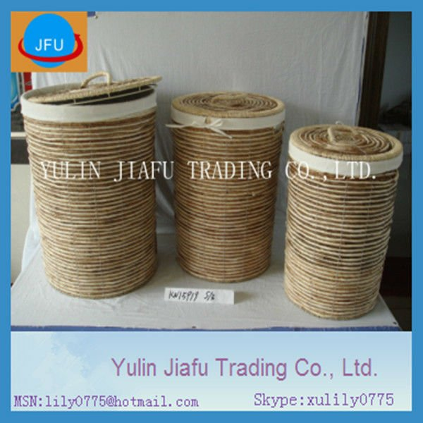 weaving round banana leaf & corn husk luandry hamper with lids cloth sorter basket bin