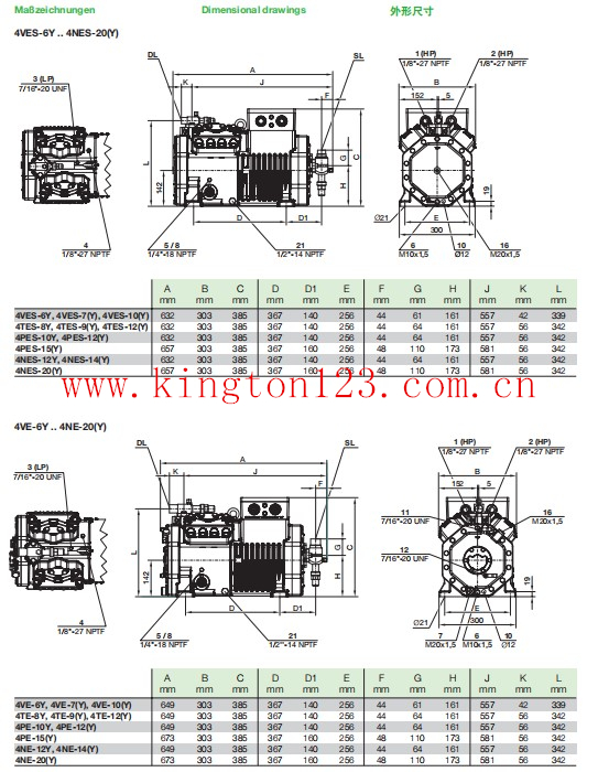 4hp Bitzer Semi-hermetische Compressor onderdelen 2CES-4
