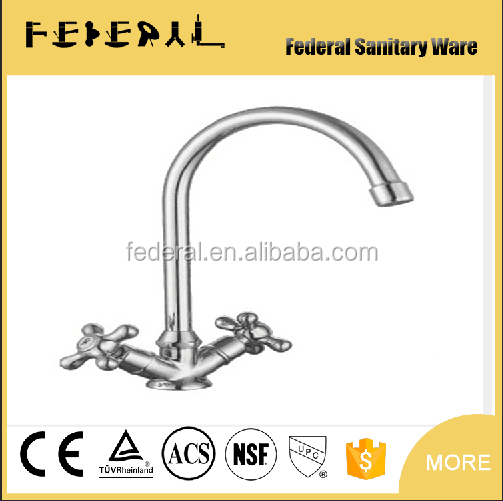double handle brass chrome neck dual lever kitchen faucet instant heating water faucet