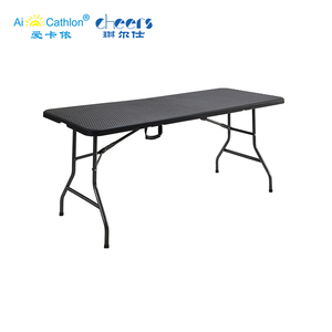 Rattan 6 Foot Long HDPE Plastic Folding Table,Outdoor Portable Fold in Half Blow Mold Table