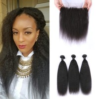 Top Quality Human Hair Weaves 13*4inch Kinky Straight Lace Frontal Closure And Peruvian Virgin Hair Bundles