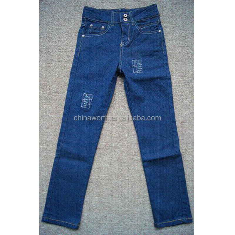 factory supply embroidery blue high-rise jeans stock lot