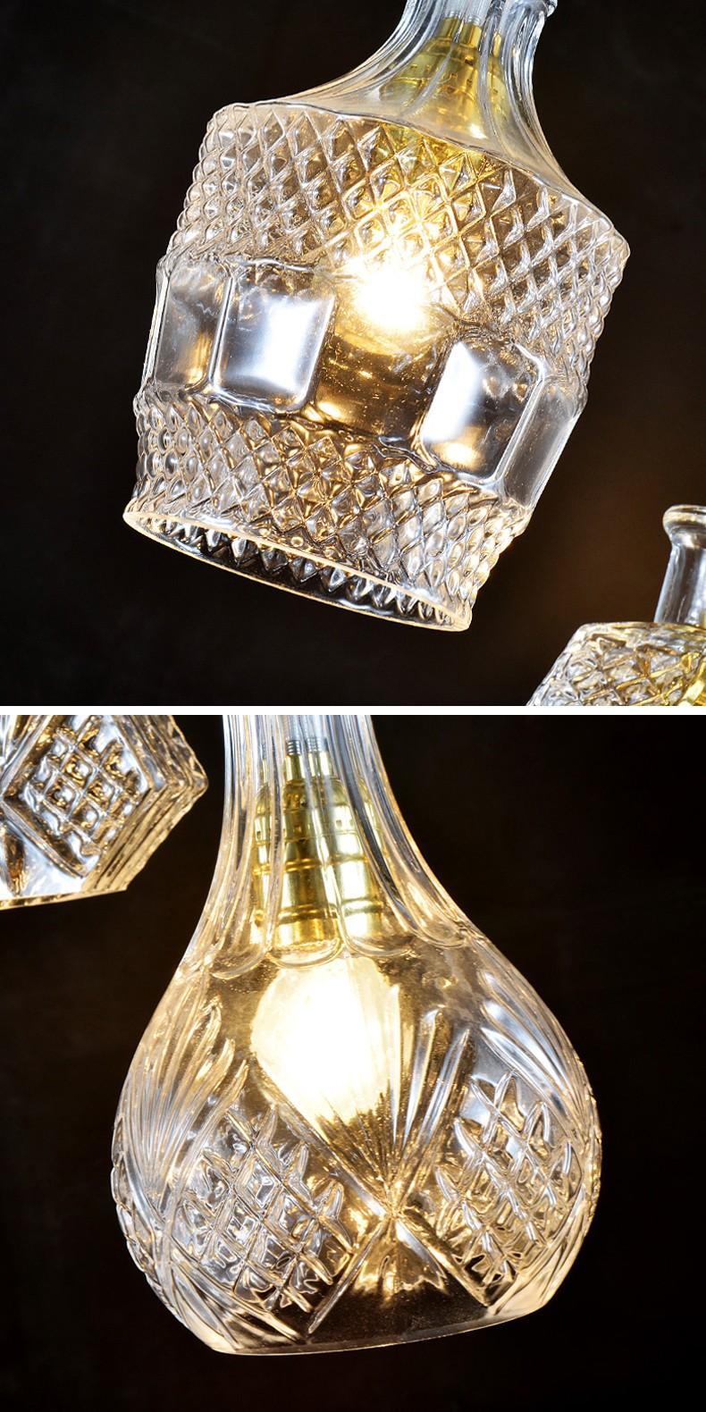Modern edison bulb bottle glass chandelier pendant lights - Glass bottle chandelier ...