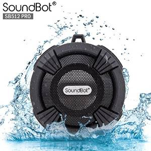 SoundBot® SB512-PRO HD Premium Water & Shock Resistant Bluetooth Wireless Shower Speaker, Hands-Free Portable Speakerphone w/ Hi-Fi Output, Built-in Mic, 6Hrs Playtime