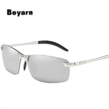 8bd8d35aa6a32 Vintage Men Brand Designer Rimless Rectangle Sun Glasses Male Classic  Outdoor Sports Glasses 2018 Polarized Sunglasses