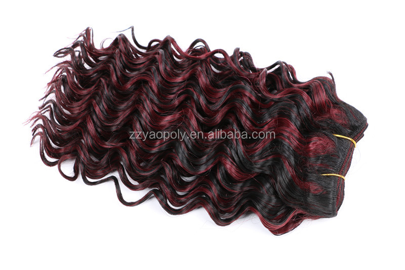 16inch 100g mix color synthetic deep wave hair weft, crochet twist braids hair weave