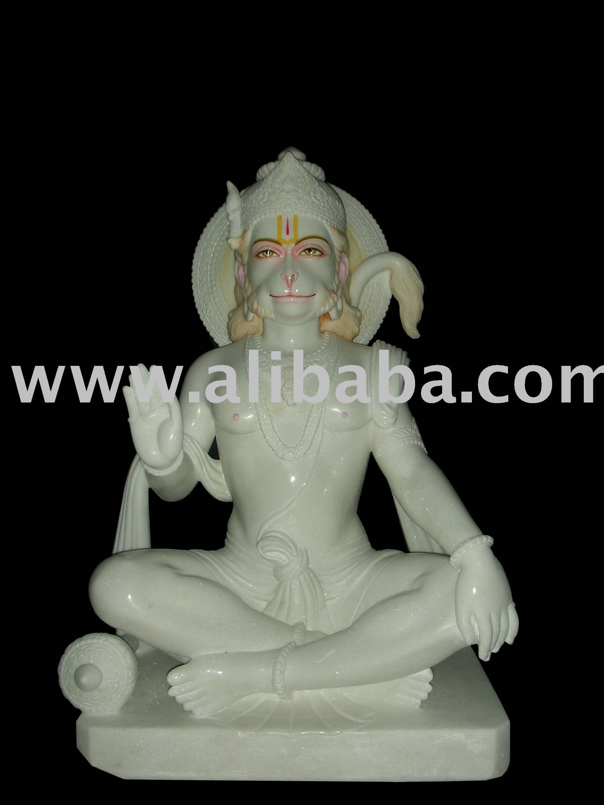 lord hanuman statue in white marble
