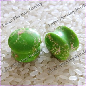 [SE-S151] New Style Saddle Plugs Natural Stone Ear Plug Body Piercing Jewelry Dome Double Saddle