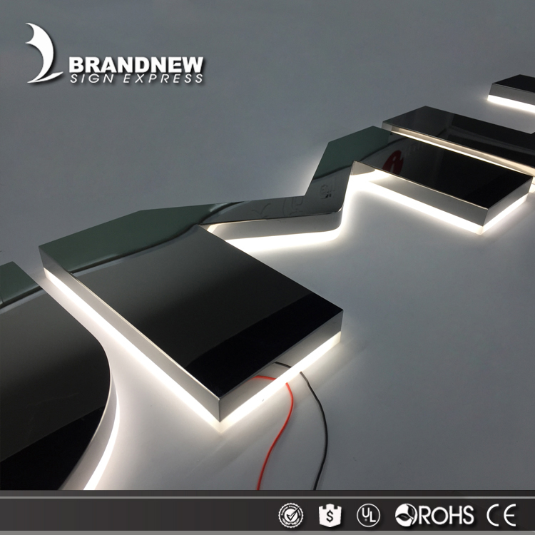Outdoor or indoor 3d custom metal stainless steel halo lit letter illuminated led backlit logo sign
