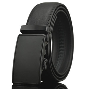 New Men's Leather Ratchet Dress Belt with Automatic Buckle