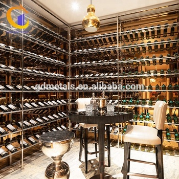 Custom large size wine rack 304 stainless steel wine cabinets