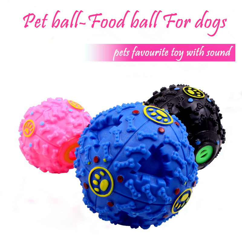 Educational sound rubber pet food ball pet chew toy