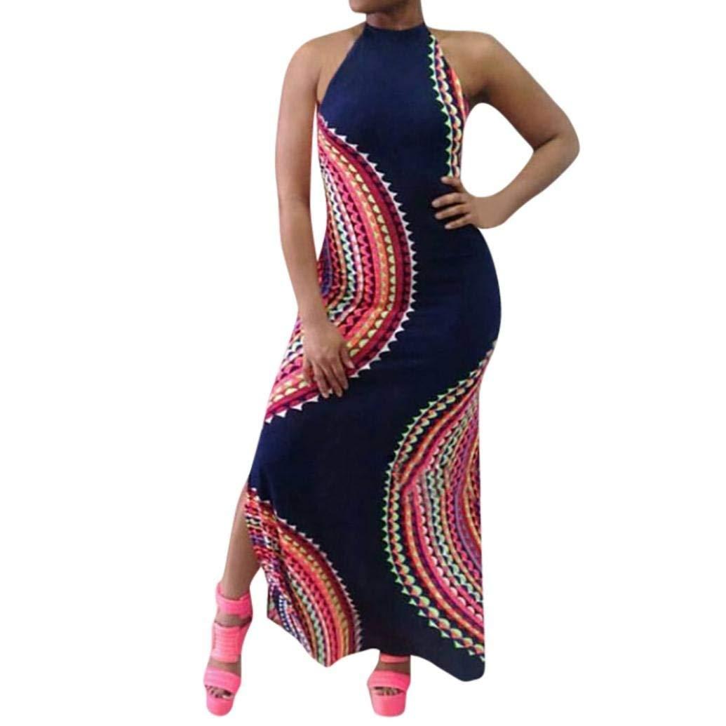 Fheaven (TM) Women Summer Dress Sleeveless Backless Halter Loose Maxi Dress Bodycon Dress (L, Navy)