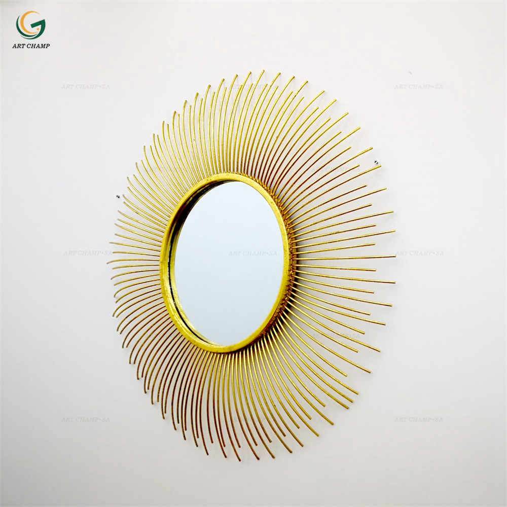 Shiny Gold Sunburst Shaped Metal Round Wall Decorative Mirror - Buy ...