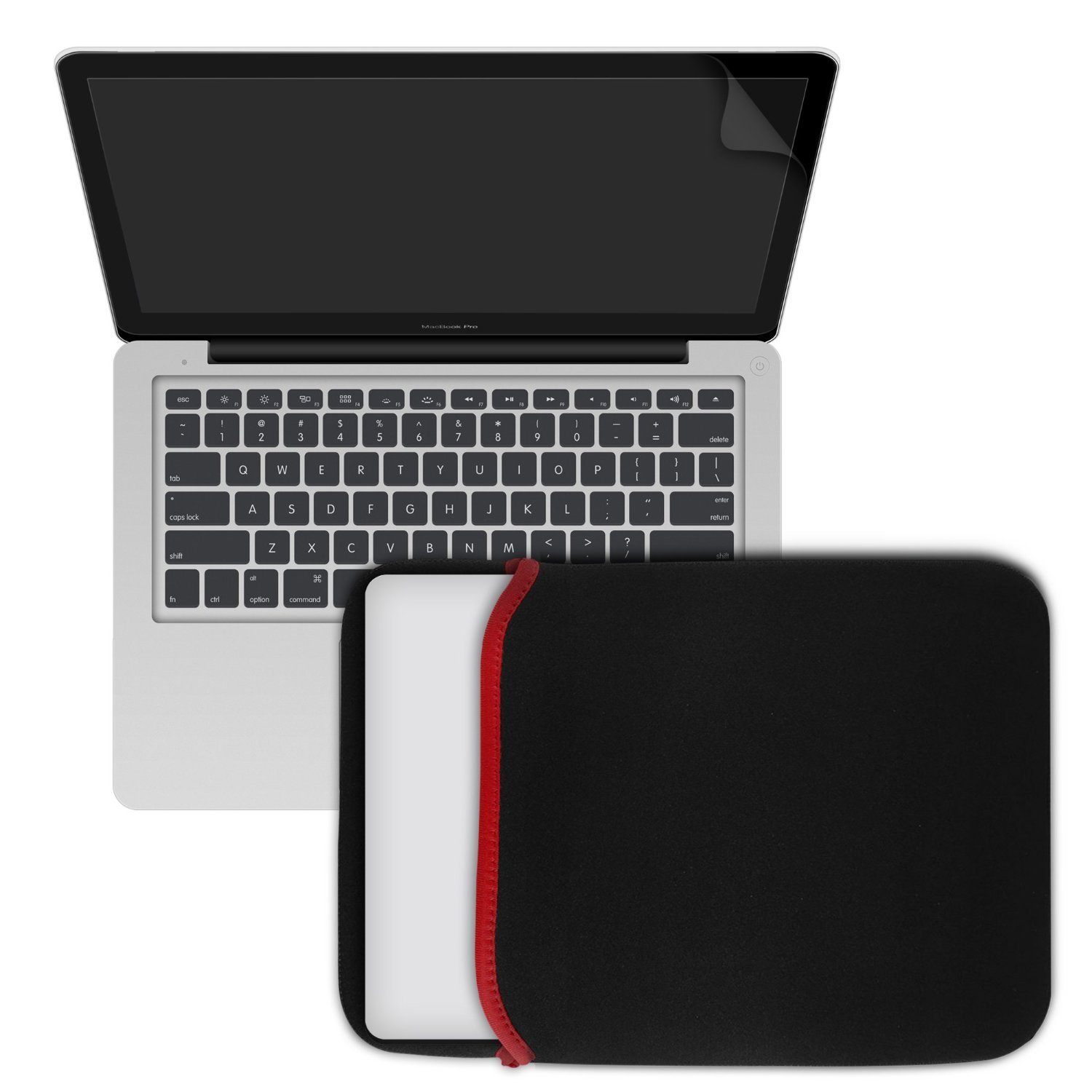 """MacBook-Pro-13, RiverPanda Matte Rubberized Hard Snap-On Case Cover for Apple MacBook Pro 13"""" with Keyboard Skin, Screen Protector & Soft Sleeve Fits Model A1278 - Clear"""