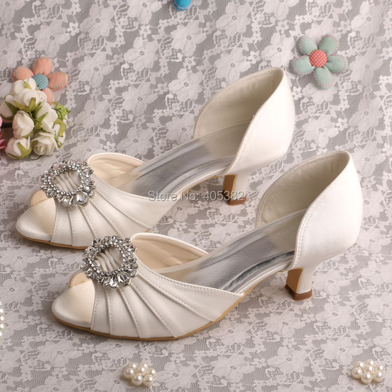 8e1ef2139 Wedopus Drop Shipping 2015 Kitten Heel Low Heel Pumps Ivory Satin Bridal  Wedding Shoes-in Women's Pumps from Shoes on Aliexpress.com | Alibaba Group
