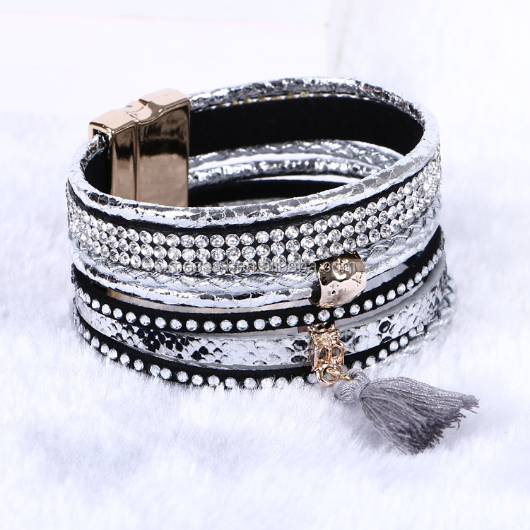 Fashion Magnetic Clasp Leather Wrap Bracelet Whole Bbbr 0001 Product On