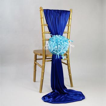 Hotsale Chiavari Chair Sash For Shining Wedding Sash With Flower Royal Blue  Chair Sash
