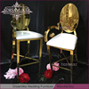 golden mirror back leather bar stools with armrest in metal for club event