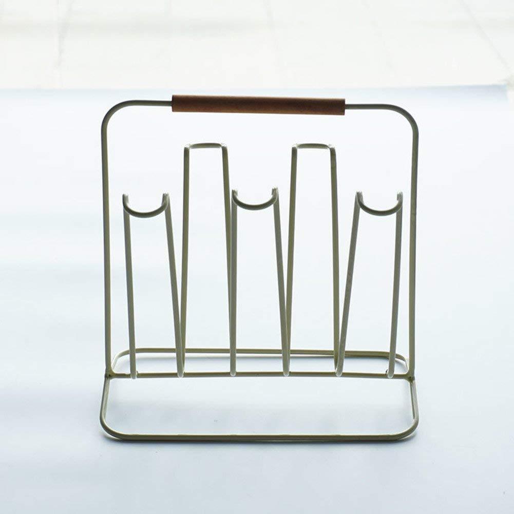 Mug holders silver,Creative iron cup stand drain rack kitchen mug holder glass cup holder storage rack-White 21x12x20cm(8x5x8inch)