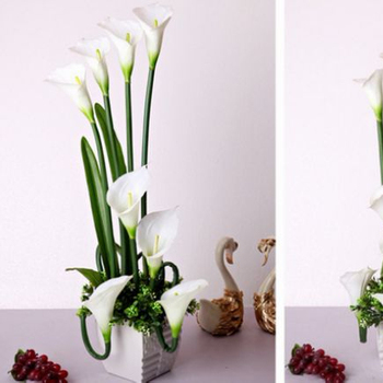 Artificial White Real Touch Calla Lily For Table And Home R
