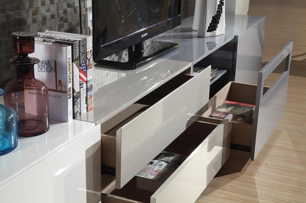 Modern Grey White Color Tv Cabinet With Showcase Tv Lcd Wooden ...