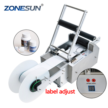ZONESUN semi automatic handle LT-50 Round Plastic water wine beer cans tube vial pet glass bottle labeling machine