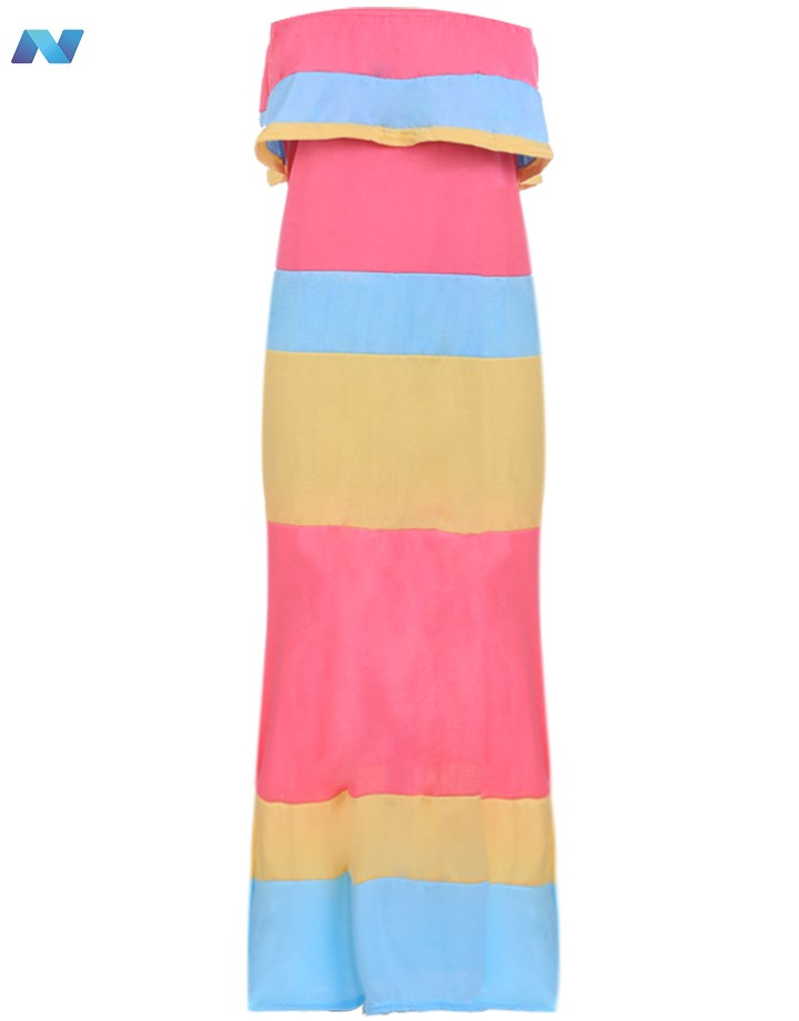 65d73f8598 Get Quotations · Women Fashion Sexy Strapless Sleeveless Backless Elastic  Ruffle Stripe Patchwork Contrast Color Maxi Long Dress