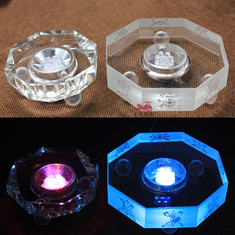 Wholesale Round Multi Color 3d crystal led light base for holiday gifts
