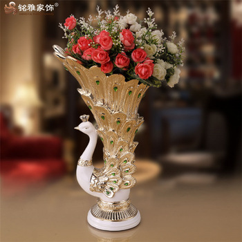 Resin Wedding Centerpieces Peacock Shape Flower Vases Qualified Big
