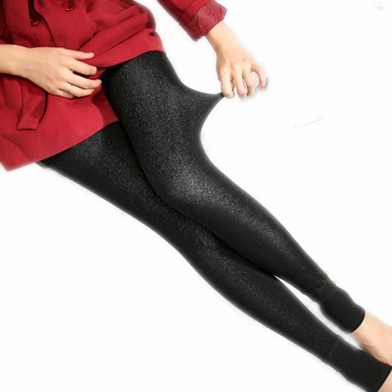 Get Quotations · Black Shiny Leggings Thicken New Autumn Winter Women s  Warm Pants Step Colorful Shiner Leggings Femme Vogue e0a756b73ef