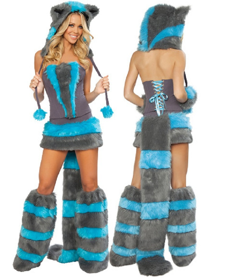 Female  Animal dress Halloween Animal fox  costume Party adult fox clothes game fox  clothes